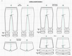 Adobe Illustrator Fashion Sketch Templates -  shorts & capris sketches.   $49.95 - over 1300 mix-&-match garment elements #flatsketch #fashionsketch #fashiondesign