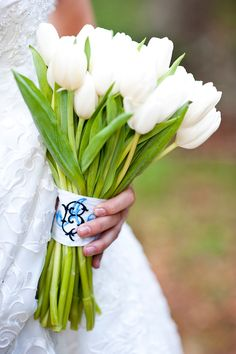 Monogrammed bouquet wrap from Paul Johnson