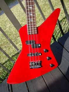 1984 B.C.Rich Explorer Bass Bright Red > Guitars : Electric Solid ...