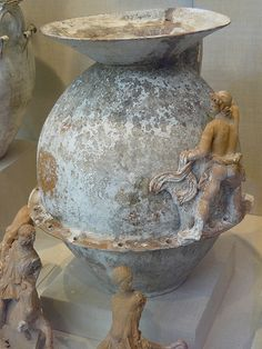 Terracotta funnel-jar with mold-made figures Greek South Italy Apulian Canosan late 4th-early 3rd century BCE