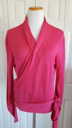Diane Von Furstenberg Size M Pink Silk Wrap Sweater V Neck Top Shirt #DVF #Wrap #Career