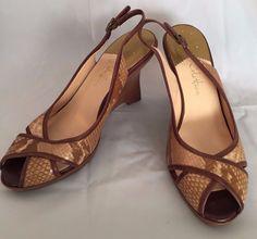 Cole Haan Nike Air Shoe Sz 8B Leather Snake Skin Wedge Browns #ColeHaan #PlatformsWedges