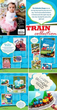 choo! choo! train birthday party featured in Totts magazine ~ http://www.thecelebrationshoppe.com/themes/view/train