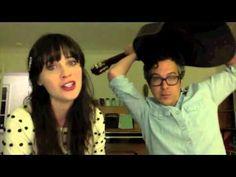 "Videochat Karaoke - Zooey Deschanel + M.Ward - ""Stars Fell On Alabama""... ...I love Zooey Deschanel and her website she helped put together isn't too bad either."