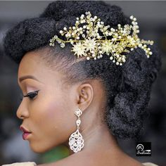 with natural hair in a mohawk and twisted updo. Black Brides Hairstyles, Loose Hairstyles, Bride Hairstyles, Pretty Hairstyles, Natural Hair Wedding, Natural Wedding Hairstyles, Popsugar, Beauty Fotos, Bridal Hair Inspiration