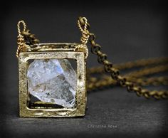 RAW DIAMOND NECKLACE - Floating Cube Pendant, Distressed Vintage Gold Cube Extra Long Bronze Chain