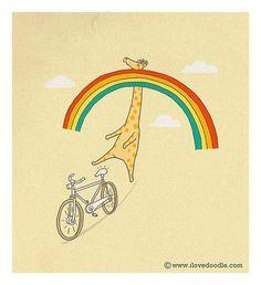 Giraffe hitting a rainbow