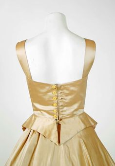 1950's Sorelle Fontana Haute-Couture Yellow Satin Circle-Skirt Party Dress | From a collection of rare vintage evening dresses at https://www.1stdibs.com/fashion/clothing/evening-dresses/