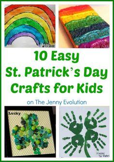 10 Easy St. Patrick's Day Crafts for Kids  #stpatrick