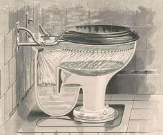 """toilet-history-flushing-rim.  It was actually in the 1590s that Sir John Harington, a godson of Queen Elizabeth I, introduced the first flush toilet. Harington's self-described """"privie in perfection"""" was a noisy, valved contrivance called the Ajax."""
