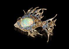 Mousson Atelier Yellow gold 750, Opal 24,6 ct., Multicolored sapphires, Tsavirites, Diamonds #fish #OpalJewelry