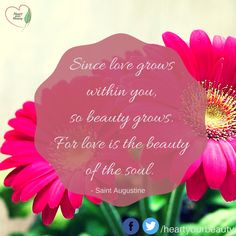 Since love grows within you so beauty grows.  For love is the beauty of the soul.  - Saint Augustine