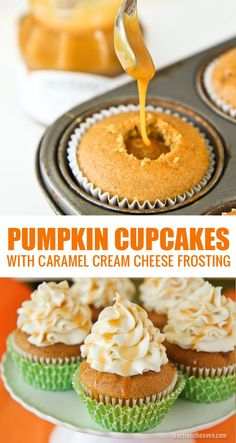 Pumpkin Cupcakes With A Caramel Cream Cheese Frosting. These cupcakes are absolutely amazing and really simple to make. Pumpkin Cupcakes With A Caramel Cream Cheese Frosting. These cupcakes are absolutely amazing and really simple to make. Mini Desserts, Fall Desserts, Just Desserts, Delicious Desserts, Yummy Food, Delicious Cupcakes, Baking Desserts, Cupcake Recipes, Cupcake Cakes