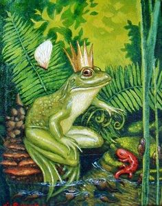 Frog Prince in Oil by Kim Parkhurst Frosch Illustration, Illustration Art, German Fairy Tales, Princess And The Pea, Frog Princess, Frog Art, Animal Magic, Storybook Characters, Fairytale Art