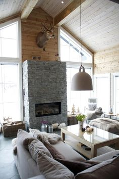 Norman Copenhagen, Modern Homes, Home Living Room, Farm House, Home Goods, House Design, Rustic, Lighting, Interior