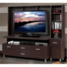 Nexera Element Entertainment Center with Bookcase Tower and Decorative Wall