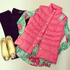 Lilly Pulitzer Vest and T-Shirt with Jeans and Tory Burch Gold Flats