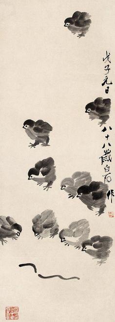 齐白石 雏趣 Painted by Qi Baishi (齊白石, China Online Museum - Chinese Art Galleries Sumi E Painting, Japan Painting, China Painting, Japanese Drawings, Japanese Art, Art Chinois, Art Asiatique, Tinta China, Art Japonais