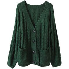 Chunky Cable Knit Blackish Green Cardigan [NCSWU0262] - $69.99 : ($50-100)