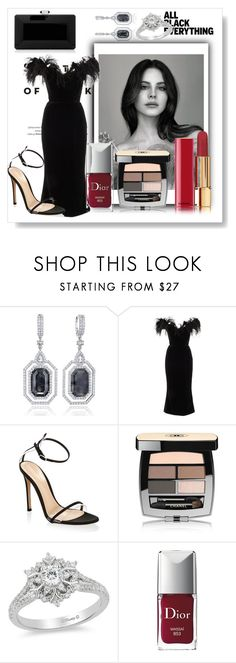 """Mission Monochrome: Black Glamour"" by muhammadtanim ❤ liked on Polyvore featuring Vision, Marchesa, Gianvito Rossi, Chanel, Disney, Christian Dior, Judith Leiber, polyvorecontest, partystyle and allblackoutfit"
