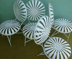 French Sunburst Patio Chair Set of 4 Francois Carre. $1,500.00, via Etsy.