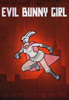 Evil Bunny Girl - Chiptune Runner game Boss.  #gamedev #indiegames #conceptart #poster #superheroes #character #game #indie