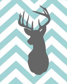 """Deer Silhouette with Chevron Zig Zag Stripes - One print - 16""""x20"""""""