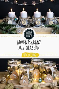 Upcycling: 3 Advent wreath DIY ideas - Upcycling Gläser: Weihnachten - Crafts world Christmas Ad, Christmas Wreaths, Christmas Decorations, Advent Wreath, Diy Wreath, Jouer Au Poker, Diy Crafts To Do, How To Get Abs, Can Lights