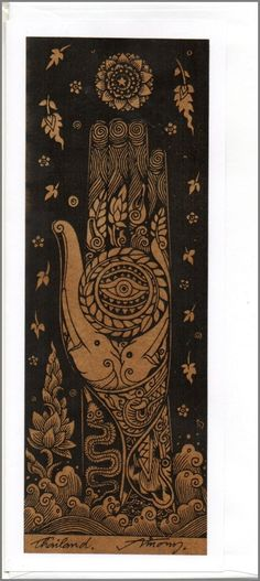 Thai traditional art Hand Of Buddha by silkscreen printing on Sepia paper card_c