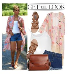Denim Shorts + Kimono by arethaman on Polyvore featuring polyvore, fashion, style, Lost & Found, Melissa McCarthy Seven7, Chicnova Fashion, Steve Madden, Brooks Brothers, clothing, GetTheLook, StreetStyle, denimshorts and kimono