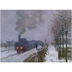 Trademark Fine Art Train In the Snow Canvas Art by Claude Monet, Size: 24 x 32, Multicolor