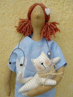 Vet surgeon Tilda doll by countrykitty  (love the licking hood!)