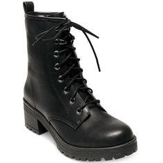Madden Girl Eloisee Combat Booties (€58) ❤ liked on Polyvore featuring shoes, boots, ankle booties, black, black military boots, black booties, madden girl, military combat boots and black army boots