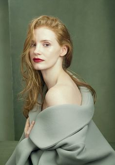 """""""I've never dyed my hair,"""" Jessica Chastain says. Photographed by Annie Leibovitz, Vogue, August 2014. Chastain, Julianne Moore, Domhnall Gleeson, Amy Adams, Karen Elson, Madison Stubbington, Florence Welch, and Shaun White—these are today's fire starters."""