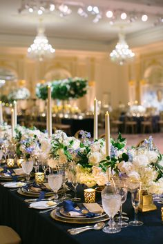 Traditional Ceremony + Ballroom Reception with Blue & Gold Décor - Inside Weddings Wedding Ceremony, Our Wedding, Wedding Things, Trump Wedding, Reception Decorations, Table Decorations, Gold Color Palettes, Dinners To Make, Catholic Wedding