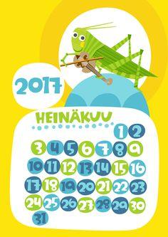 Heinäkuu 2017 | free | printable | pattern | lasten | lapset | askartelu | kalenteri | vuosikalenteri | seinäkalenteri | tulostettava | paperi | koti | sisustus | kids | children | crafts | home | paper | calendar | Pikku Kakkonen