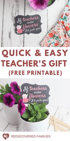 Do you need a quick homemade teacher's gift? Here's a simple DIY thank you gift teachers will can enjoy. Pair a potted plant with these free printable tags. It's the perfect way to express your appreciation at the end of the year. Homemade Teacher Gifts, Easy Teacher Gifts, Easy Diy Gifts, Teacher Appreciation Gifts, Homemade Gifts, Free Printable Tags, Free Printables, Traditions To Start, Family Traditions