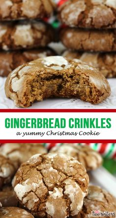 Gingerbread Crinkles - a yummy Christmas Cookie! This yummy homemade Gingerbread cookie recipe is a keeper. Your family (and Santa!) will beg for more of these light, fluffy and delicious Christmas cookies. for a crowd Gingerbread Crinkle Cookies Köstliche Desserts, Holiday Cookies, Holiday Baking, Christmas Desserts, Delicious Desserts, Dessert Recipes, Christmas Treats, Christmas Parties, Dinner Recipes