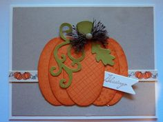 Layered Pumpkin Card by candee porter - Cards and Paper Crafts at Splitcoaststampers Making Greeting Cards, Greeting Cards Handmade, Fall Cards, Holiday Cards, Pumpkin Cards, Cardmaking And Papercraft, Thanksgiving Cards, Halloween Cards, Scrapbook Cards