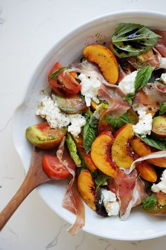 Nectarine, tomato, basil salad - three aphrodisiacs in one simple, summer salad