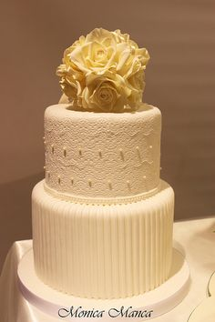 Wedding Cake - Cake by Monica Manca Ivory Wedding Cake, Wedding Cake Rustic, Sikh Wedding, Chic Wedding, Dream Wedding, Elegant Cake Design, Elegant Cakes, Fondant Wedding Cakes, Wedding Cupcakes