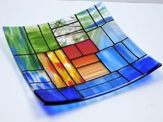 """Games of Colors: A decorative square fused glass plate """"A gentle color mix"""". #Handmade #Contemporary"""