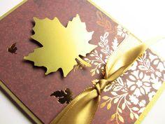 Handmade Thanksgiving Card Fall Card Autumn Card Golden by zuCards, $2.50