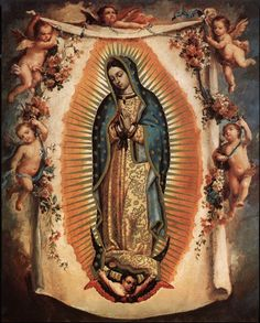 "On December Catholics all over the world honor Our Lady of Guadalupe, ""Patroness of the Americas"" and patron saint of Mexico. La Virgen de Guadalupe is venerated across North and South Ameri. Blessed Mother Mary, Blessed Virgin Mary, Catholic Art, Religious Art, Catholic Crafts, Catholic Religion, Religious Images, Immaculée Conception, Mary Tattoo"