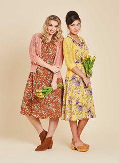 Cassidy Floral Midi Tea Dress – Brown