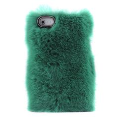 Aaaaaaaaaaa! How funny-fluffy! Image of Unique Green Soft Fur Hard Cover Protective Case For Iphone 4/4s/5