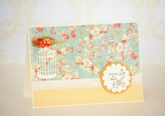 Shabby Chic Floral Handmade Thank You Card with Bird Cage and Paper Roses - with Matching Envelope