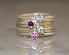 Birthstone stacking rings Mothers rings 7 skinny by sherisdesigns, $150.00
