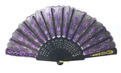 Black and Purple Handheld Asian Fan