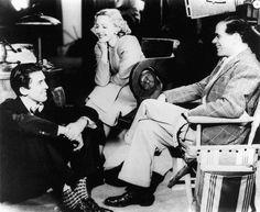 "Jimmy Stewart, Jean Arthur and Frank Capra on the set of ""Mr. Smith Goes to Washington"" (1939)"